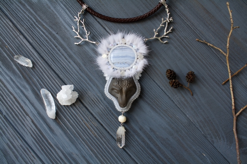 Wolf Moon animal totem necklace: