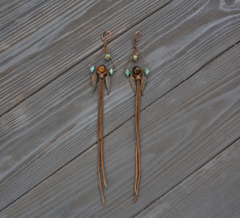Shaman triangle earrings with Tiger's eye: