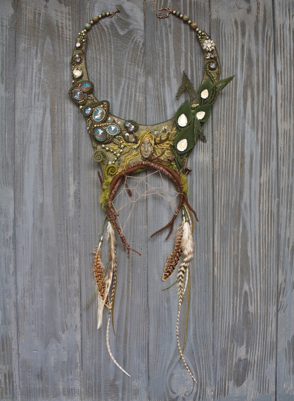 Swamp witch statement embroidered necklace with Swarovski crystals: