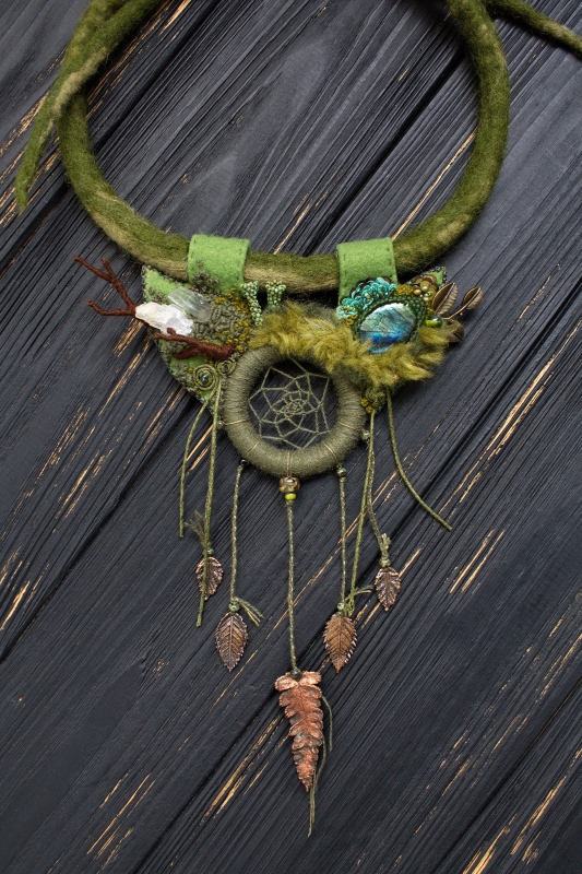 Forest Dreamcatcher Green witch necklace: