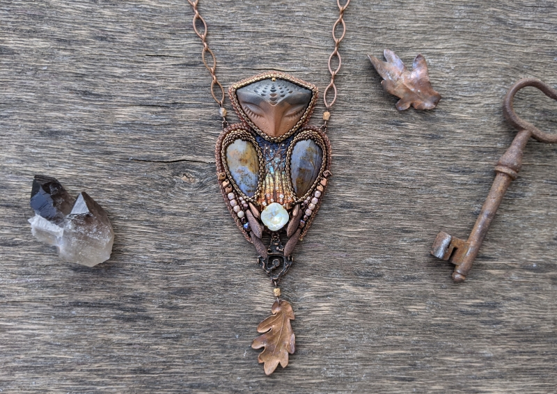 Silent Keeper: witch jewelry, witchy necklace, green witch,  forest jewelry, animal totem, owl necklace, spirit animal, spirit guide