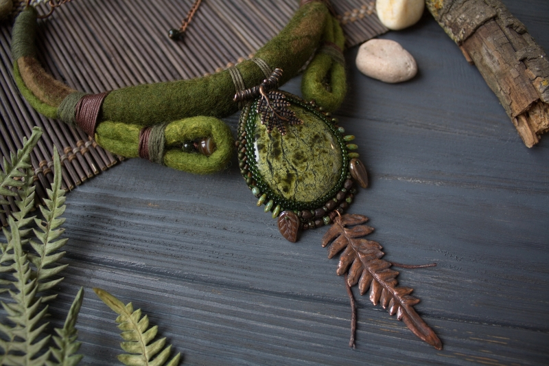 Primordial Forest necklace: witch jewelry, witchy necklace, green witch,  forest jewelry