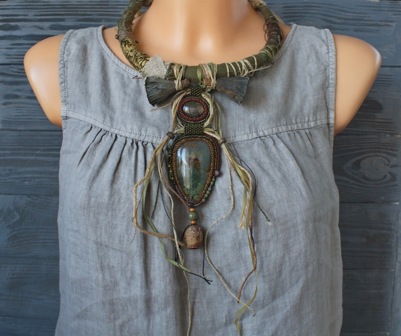 Witch of the Rusty Lake unusual statement necklace with natural gemstones: