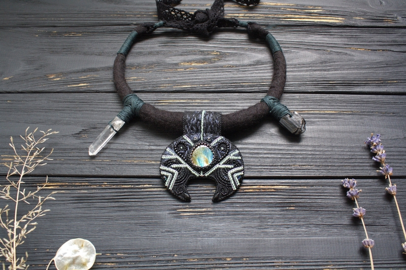 Black moon witch necklace: