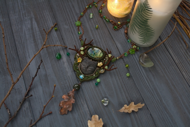 Forest Dreamer green witch necklace: witch jewelry, witchy necklace, green witch, fantasy creature, fantasy jewelry, fairy jewelry, forest jewelry, magic pendant