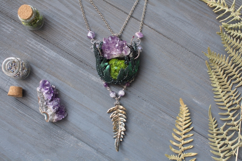 Mountain Flower: witch jewelry, witchy necklace, green witch,  forest jewelry
