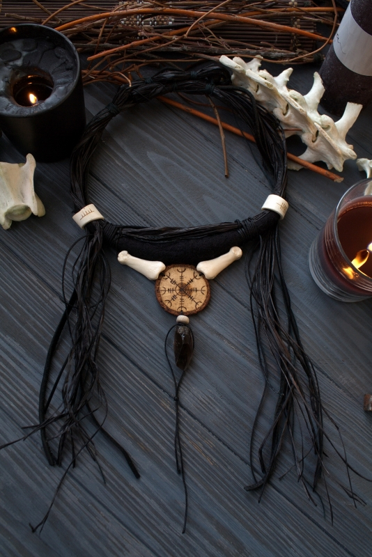 Summoner of bones: pagan jewelry, helm of awe necklace, witch jewelry