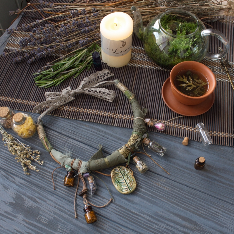 Herbalist: the Gathering: witch jewelry, witchy necklace, herbal witch, green witch