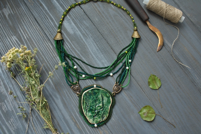 Herbs: witch jewelry, witchy necklace, green witch,  forest jewelry