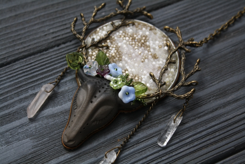 Under the Flower Moon: witch jewelry, witchy necklace, green witch, forest jewelry, antler necklace, deer necklace