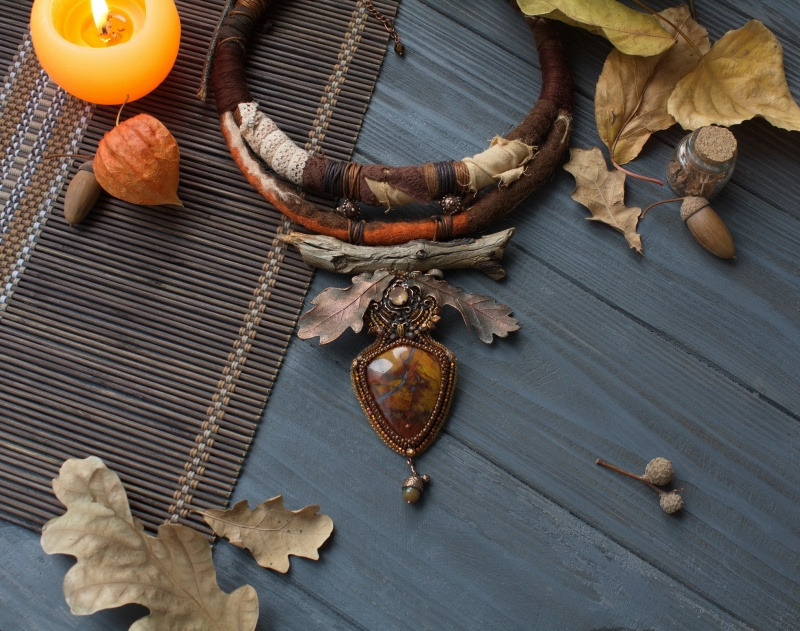 Autumn Queen necklace: witch jewelry, green witch, earth goddess, earth mother, witchy necklace, autumn jewelry,  Mabon necklace