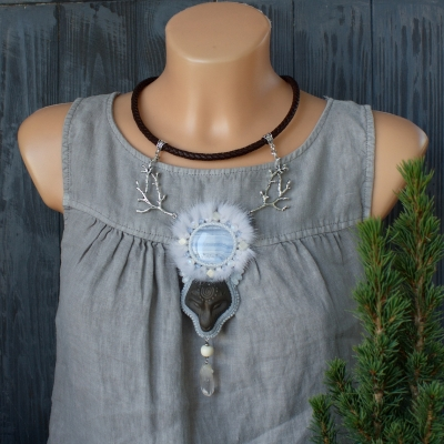 Wolf Moon animal totem necklace