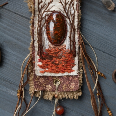 Keeper of fallen leaves pouch necklace