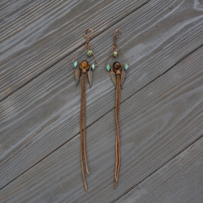 Shaman triangle earrings with Tiger's eye