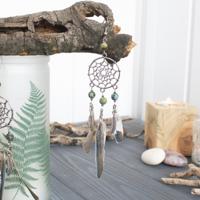 Dreamcatcher earrings with blue feathers