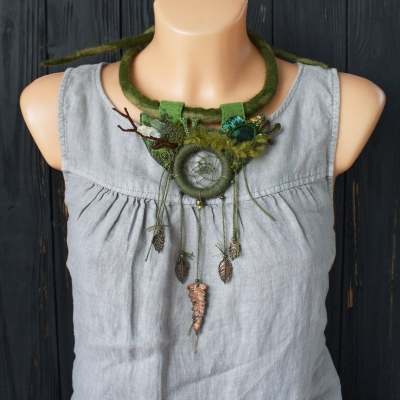 Forest Dreamcatcher Green witch necklace