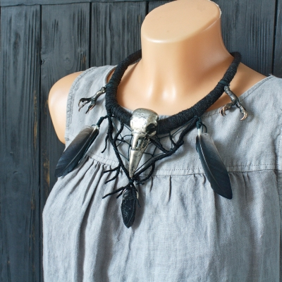 Crow witch jewelry with Morion Quartz crystal