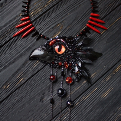 Dark Seer bead embroidered witch necklace