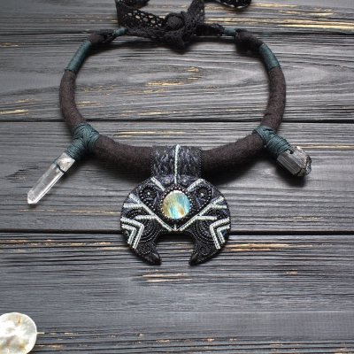 Black moon witch necklace