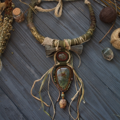 Witch of the Rusty Lake unusual statement necklace with natural gemstones