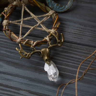 Pentacle and triple moon crystal quartz witch necklace