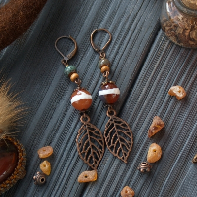 Autumn leaves nature style earrings with agate beads, wooden and ceramics beads
