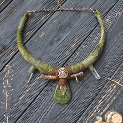 Forest natural necklace with Serpentine