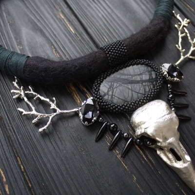 Winter Raven skull witch necklace
