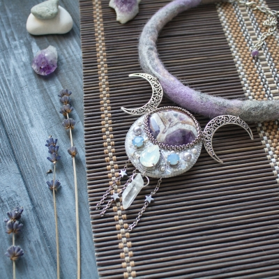 Lavender Moon amethyst witch necklace