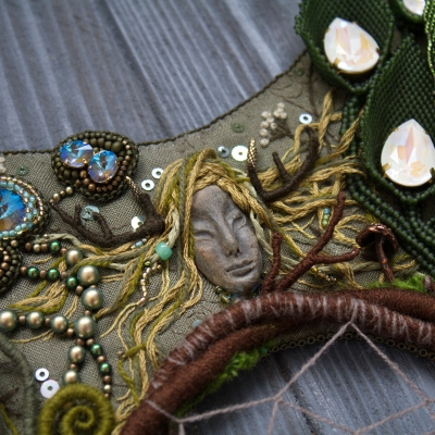 Swamp witch statement embroidered necklace with Swarovski crystals